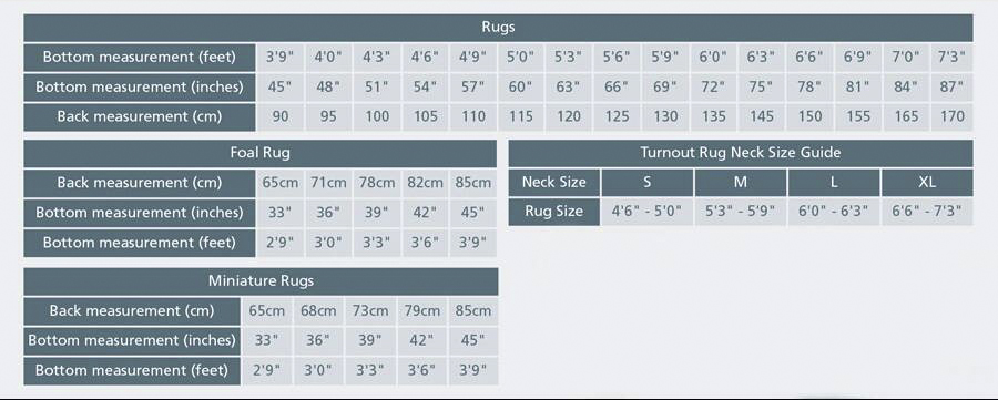 shires tempest rug size chart